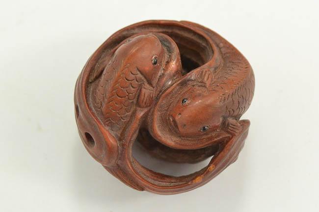 老黄杨木雕太极鱼
