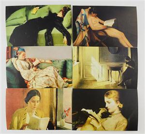 中图明信片:阅读的女人系列一(6张)