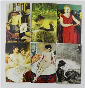 中图明信片:阅读的女人系列三(6张)