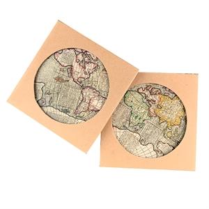 地图陶瓷杯垫(1对)(直径10.3CM)